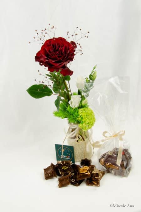 Love Me Tender, rose rouge et chocolat pour la saint valentin